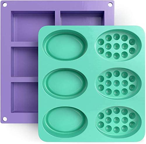 Glogex Silicone Soap Molds Set of 2 12 Cavities Rectangle Oval Massage Bar Mold Perfect for product image