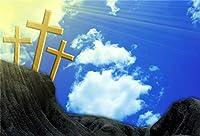 HiYash 10 x 7フィートビニールイースターの写真の背景山の上のゴールデンクロスまばゆいばかりの黄金の太陽の光光線青い空白い雲背景キリスト教のシンボル信仰教会壁画イエス