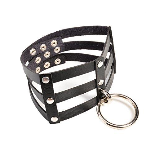 Idealway, collare in cuoio con anello placcato argento, stile punk rock Harajuku, vintage e sexy