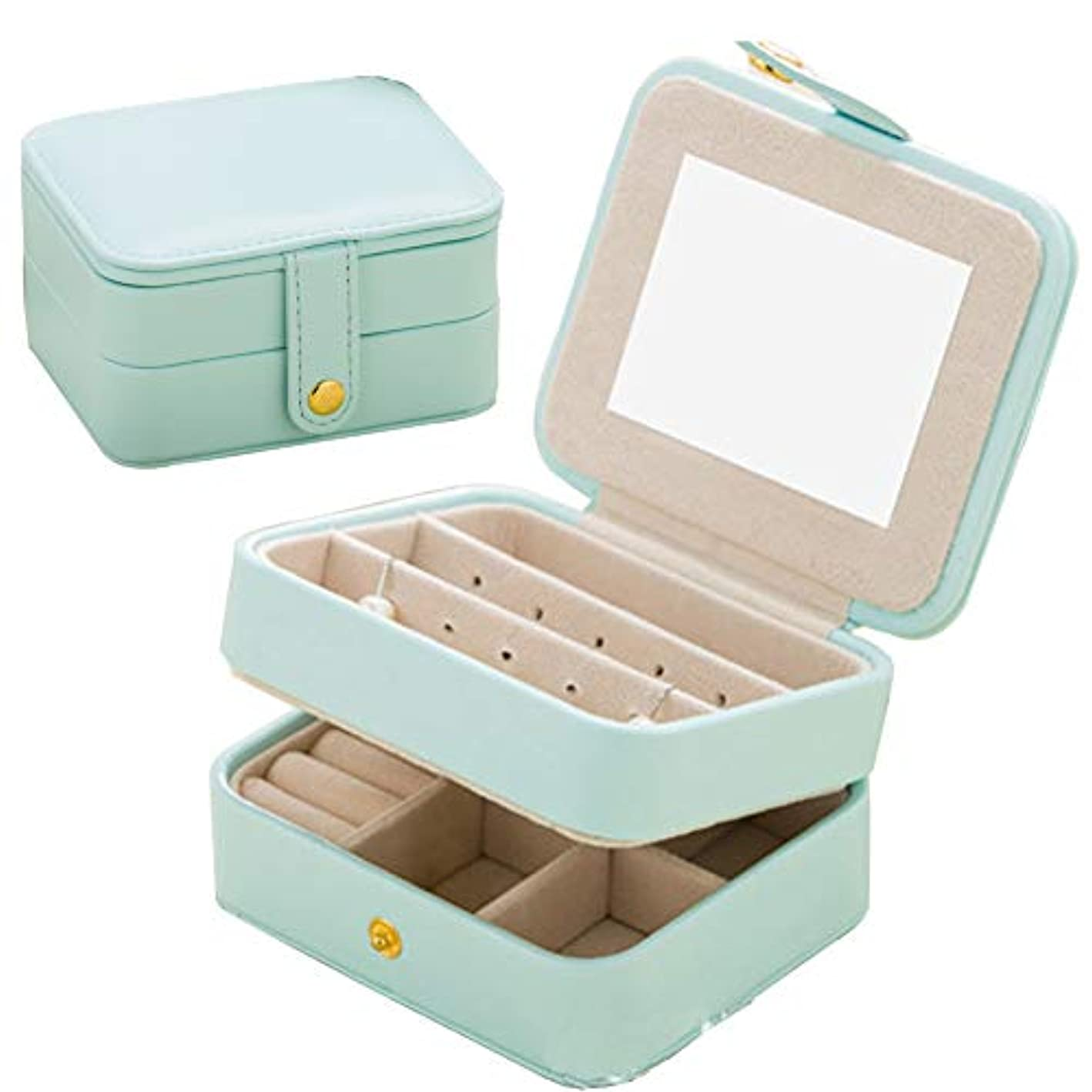 Naswei Travel Jewelry Organizer Box Portable Jewelry Storage Case Accessories Holder Pouch Bulit-in Mirror with Environmental Faux Leather for Earring,Lipstick,Necklace,Bracelet,Rings Light Blue