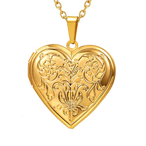 U7 Chapado en Oro Collar con Colgante de corazón y Flor Rosa con Cadena Fina
