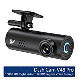 RONSHIN Newest for V48 Pro Dash Cam Car DVR Camera WiFi APP & English Voice Prompts 1080P HD Night Vision G-Sensor Dashcam Video Recorder