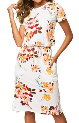 Womens Floral Short Sleeve Work Casual Midi Dress with Pockets White L