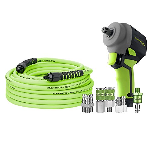 """Flexzilla Pro Mini Impact Wrench Kit. 1/2"""" Drive Pro Air Hose 3/8″ x 50 High Flow Couplers and Plugs - AT8505FZ"""