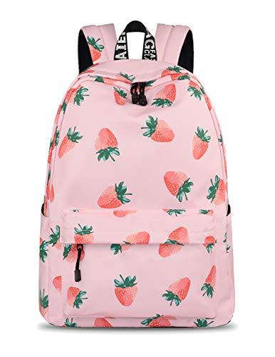 YANAIER Waterproof School Backpack for Girls Teens Cute Print Bookbag Laptop Backpack Women Travel Casual Daypack Strawberry