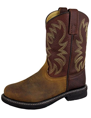 Smoky Mountain Childrens Buffalo Wellington Oiled Distressed Leather Round Toe Brown Western Cowboy Boot, Brown Distressed, 8.5 M US Toddler