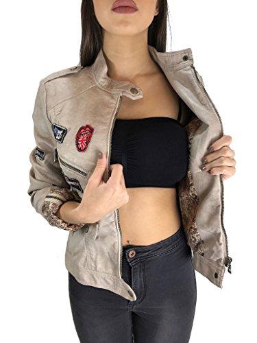 Worldclassca Damen Jacke Lederoptik MIT Patches 11 Farben S-XXL ÜBERGANGS Damenjacke Biker Kunstleder Fashion Jacket Blogger MIT REIßVERSCHLUSS NEU Slim FIT Used Look (36 / S, Beige)