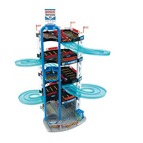 Theo Klein 2813 Aparcamiento Bosch Car Service, Con 5 plantas, doble rampa de salida, 2 coches de carreras, ascensor y mucho más, Medidas: 55 cm x 55 cm x 85 cm, Juguete para niños a partir de 3 años