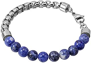 Blue Lapis and Stainless Steel 316L Bracelet for Men…