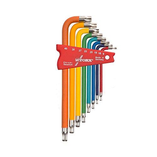 TORX® 70587 Winkel Schraubendreher Set Farbcodiert mit Kugelkopf 8tlg. TX 9-40 | Made in Germany | Torxschlüsselsatz | Schraubenschlüssel | T9 | T10 | T15 | T20 | T25 | T27 | T30 | T40 | TX | bunt | farbig | für Torx Schrauben