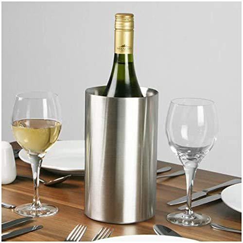 BEILENING Weinkühler, Edelstahl Sektkühler, doppelwandig, Ø 12 x (H) 19.2 cm, matt gebürstet, doppelwandiger Flaschenkühler für Wein- oder Sektflaschen