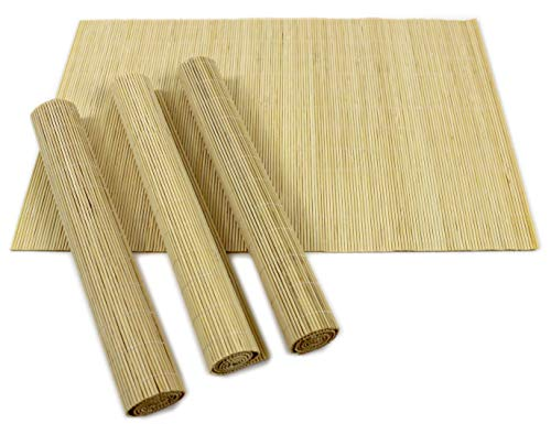 Set of 4 X/L bamboo placemats oriental fusion home dining (Beige) by Giftsbynet