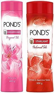 POND'S Dreamflower Fragrant Talcum Powder, Pink Lily, 400 g And Pond's Starlight Talc 300g