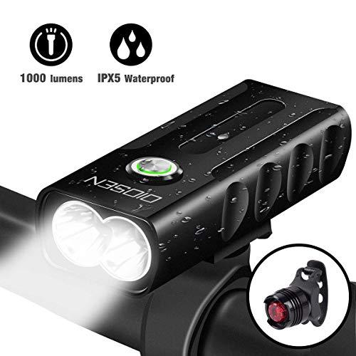 OIOSEN Juego de Luces para bicicleta, Lámpara de bicicleta de 1000 lúmenes recargable mediante USB, Lámparas delanteras y traseras,...