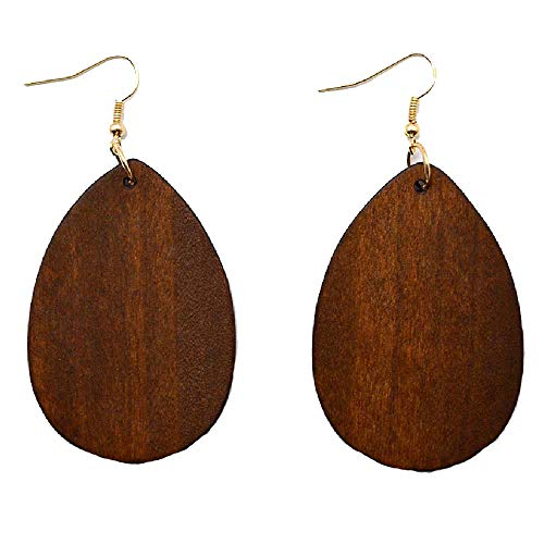 KaFu Dangle Natural Wood Teardrop Geometric Circle Earrings Stainless Steel Stud Bohemia Retro Earrings for Women Girls (Dark Brown)
