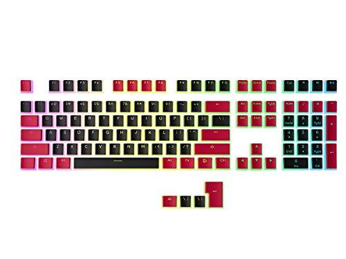 HK Gaming Juego de 108 teclas de pudín PBT para teclado mecánico para juegos (negro y rojo)