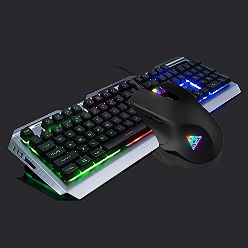 Iron Backlit Gaming Keyboard Mouse Combo Rainbow Red Green Purple Color Changing,Gaming Keyboard 5600 dpi Gaming Mouse,Computer Keyboard,104 Black Key Cap Metal Panel,for Xbox One PS4 Prime Gamer