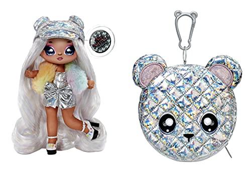 Na! Na! Na! Surprise moda 2 en 1 metálico Serie Glam-Coleccionable-Muñeca vestida de color plata prismática con gorra y bolso en forma de osito-Ari Prism, 575399C3