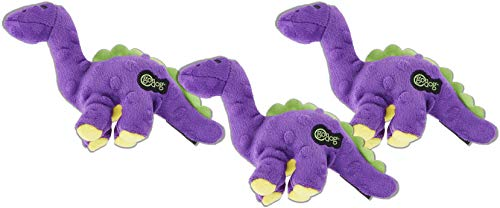 goDog 3 Pack of Just for Me Bruto Dino with Chew Guard Technology Tough Plush Dog Toys
