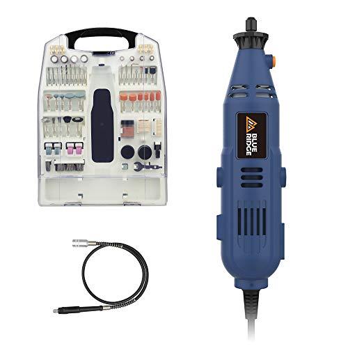 Outil Rotatif Electrique Multifonction 130W, BLUE RIDGE BR3100 Meuleuse Set avec 233 Accessoires, Vitesse Variable 10000-32000tr/min, pour Polissage/meulage/forage/découpe/gravure