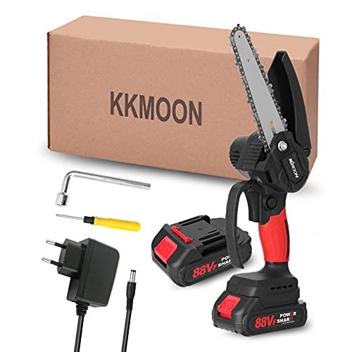 KKmoon Mini Motosega per Potatura 88VF con Caricatore e 2 Batterie, Motosega Elettrica da 21V per Potatura di Alberi e Giardino