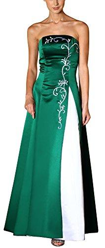 Romantic-Fashion Damen Ballkleid Abendkleid Brautkleid Lang Modell E557 Zweifarbig Stickerei DE Grün Größe 48