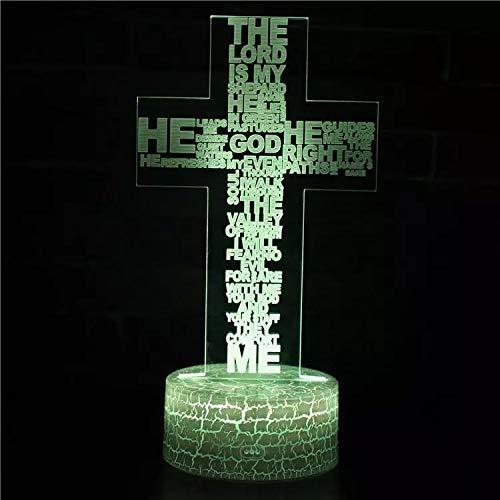 Letras artísticas Jesús cruz lámpara de mesa pequeña luz LED luz visual 3D decoración de base de grieta creativa lámpara de mesa pequeña acrílico luz de noche multicolor