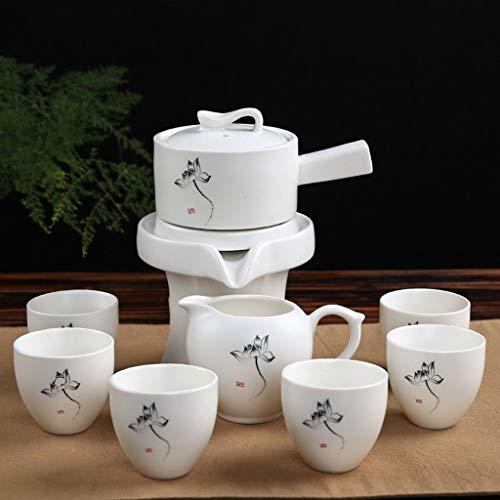 Tavolo da tè Imposta Teiera, Tea Set a Mano Cinese, teiera della Porcellana, Neve Smalto Mulino Automatico Kung Fu Tea Set, tè Automatico dissalatore Rotazione (Color : C)