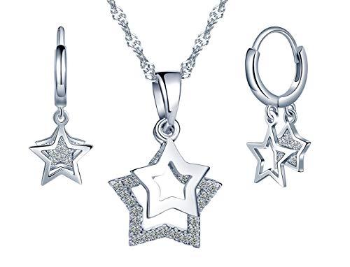 Collar de plata esterlina 925, colgante de estrella de niña, pendientes de estrella, juegos de joyas de estrella, pendientes, regalo de cumpleaños de Navidad