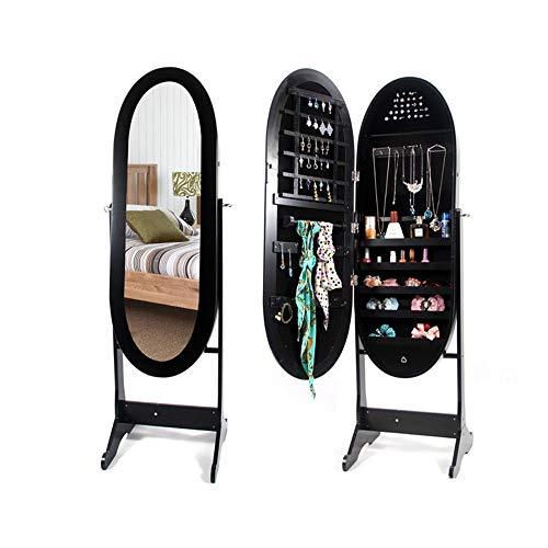 BESTSOON-DC Gabinete de la joyería Armario para gabinete de joyería con Espejo y Espejo de pie Organizador de Almacenamiento para Almacenamiento de Joyas (Color : Negro, tamaño : Un tamaño)