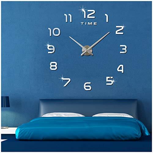 壁掛け時計 手作り DIY ウォールステッカー 掛け時計 インテリア オシャレ 時計 壁掛け ローマ数字 壁時計 秒針の音がしない時計 掛け時計 おしゃれ ウォールクロック のための リビングルーム ベッドルーム メイン装飾 (シルバー)