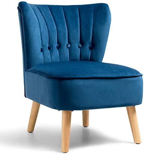 Best Giantex Modern Velvet Accent Chair, Upholstered Leisure Sofa Chair w/Wood Legs, Thickly Padded and B