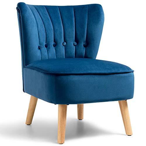 COSTWAY Polsterstuhl Esszimmerstuhl gepolstert, Wohnzimmerstuhl Küchenstuhl Designerstuhl Akzentstuhl Schminksessel Farbwahl (blau)