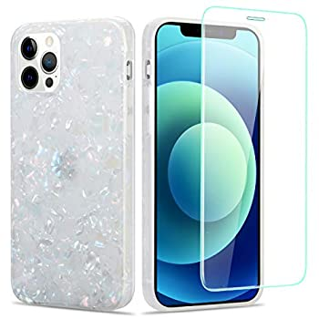 Manleno Compatible with iPhone 12/12 Pro Case with Screen Protector Glitter Marble Phone Case for Women Girls Cute Design Soft Cover Slim Full Body Protective Case for iPhone 12/12 Pro 6.1   Opal