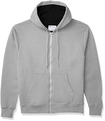 Champion Men's Powerblend Full-Zip Hoodie, Oxford Gray, Large