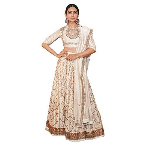 Creme schöne Kette Stich Seide Stickerei bereit, Light Lehenga Choli Dupatta indische Frauen Party Kleid Rock Top 9357 zu tragen (38)