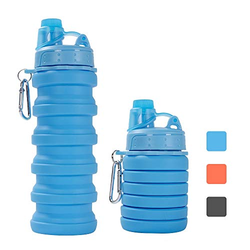 ZOORON Collapsible Water Bottle, BPA Free Silicone Foldable Travel Water Bottle Set Lightweight/Eco-Friendly Water Bottles with Carabiner Designed for Travel and Outdoor (Bottle a-Blue)