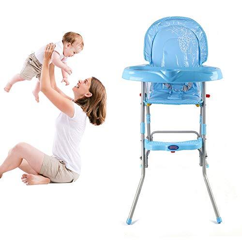 Flybear 3 in1 Baby Hochstuhl, Klappbar, mit Sicherheitsgurt,geeignet für Babys von 6 Monaten bis 3 Jahren, blau