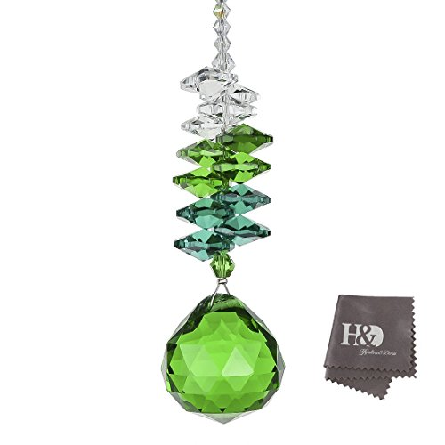H&D 30mm Green Chandelier Crystals Ball Prisms Rainbow Octogon Chakra Suncatcherfor Gift