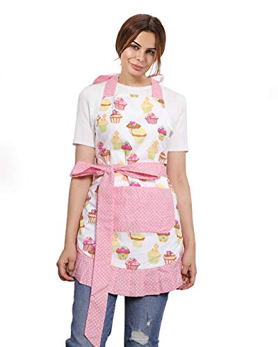 Leeotia Cotton Fabric Flirty Women's Apron With Big Pocket In Front Used For Home Baking or Kitchen Cooking (Cupcake pattern)