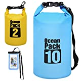 Waterproof Dry Bag All Purpose Dry Sack 3-Pack Dry Compression Sack with Phone Case for Travel, Swimming, Boating, Kayaking, Camping and Beach