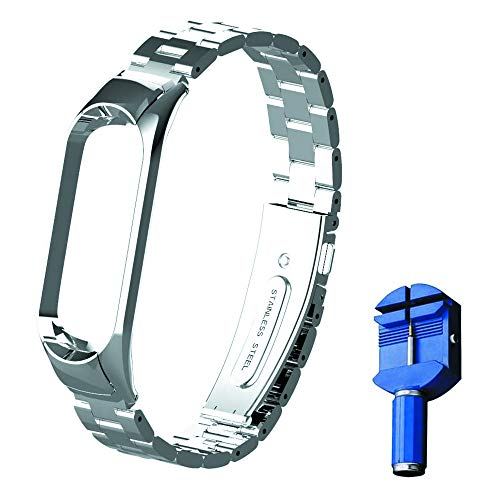 OLLIVAN for Xiaomi Mi Band 5 Strap, Mi Band 5 Metal Wristbands, Replacement Straps Bracelet Spare Wristband Accessories Adjustable Wrist Straps for Xiaomi Mi Band 5 (No Tracker) (Silver)