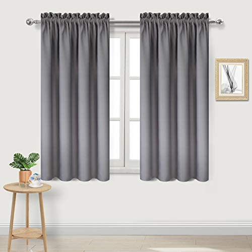 DWCN Blackout Curtains Thermal Insulated Energy Saving Bedroom and Kitchen Curtains Window Treatments, W 38 x L 45 Inch, Set of 2 Grey Rod Pocket Drapes