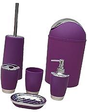 Zestaw akcesoriów łazienkowych, 6 szt., uchwyt na szczoteczki do zębów, dozownik mydła, mydelniczka, szczotka do WC i uchwyt, kosz na śmieci, kubek do spłukiwania do łazienki – liliowy, 6 szt./zestaw