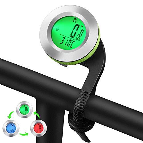 MONTOP Fahrradcomputer Kabellos Wasserdicht, Fahrradtachometer mit 3 Hintergrundbeleuchtung, Auto Aufwecken Fahrradtacho Kabellos, LCD Fahrrad Computers Drahtlos für Kinder und Erwachsene - Silber