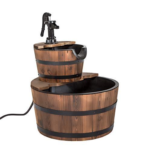 Worldrich 2 Tier Outdoor Garden Rustic Wood Barrel Waterfall Fountain with Pump