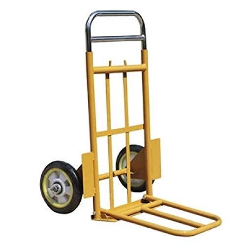 MIZE Rostfreier Stahl Handwagen Bollerwagen Tragbar Leichtgängige Räder mit Soft-Laufflächen und bis 153 kg,Gelb Grocery Cart für Reisen, Einkaufen oder Industrie