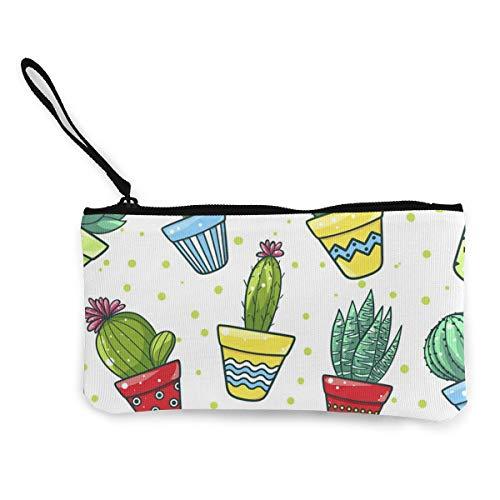 Portafoglio in tela con cactus in vaso e carne in vaso, squisito portamonete, piccolo portamonete in tela è utilizzato per contenere il cambio monete, ID e altri