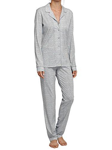 SCHIESSER Damen Schlafanzug lang Knopfleiste Jersey hellgrau bedruckt Clearwater Bay Gr 38