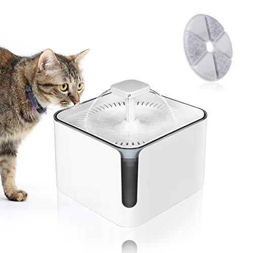 Achort Bebedero Gatos, Fuente silencioso para Gatos 3L Bebedero Automático Fuente de Agua para Mascotas Gatos Perros Cuidado La Salud y Fuente Higiénica con 3 Filtros de Carbón Activado (Blanco)